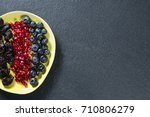overhead view of various fruits ... | Shutterstock . vector #710806279