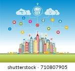 smart city with advanced smart... | Shutterstock . vector #710807905