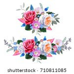 bouquet with roses and blue...   Shutterstock .eps vector #710811085