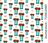 vector blue polka dot wellies... | Shutterstock .eps vector #710813485
