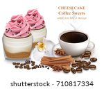 cheesecake and fresh coffee.... | Shutterstock .eps vector #710817334
