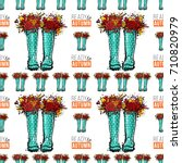 vector blue polka dot wellies... | Shutterstock .eps vector #710820979