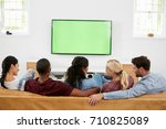 rear view of group of young... | Shutterstock . vector #710825089