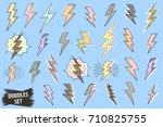 lightning doodle set. thunder... | Shutterstock .eps vector #710825755