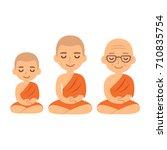 buddhist monks sitting in... | Shutterstock .eps vector #710835754