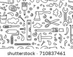 hand drawn seamless pattern... | Shutterstock .eps vector #710837461