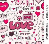 hand drawn doodle love seamless ... | Shutterstock .eps vector #710837479