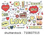 set of hand drawn doodle love... | Shutterstock .eps vector #710837515