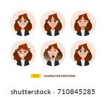 characters avatars emotion in... | Shutterstock .eps vector #710845285