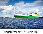 ro ro ship in ventspils... | Shutterstock . vector #710845807