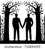 laser cut card with two men... | Shutterstock .eps vector #710854555