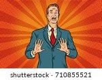 scared male businessman. pop... | Shutterstock .eps vector #710855521