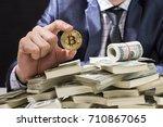 businessman receive a lot of... | Shutterstock . vector #710867065