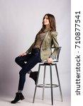 young european woman showing... | Shutterstock . vector #710877541