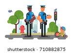 police patrol officer on city... | Shutterstock .eps vector #710882875