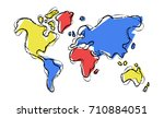world map illustration template ... | Shutterstock .eps vector #710884051