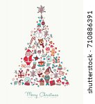 merry christmas and happy new... | Shutterstock .eps vector #710886391