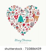 merry christmas and happy new... | Shutterstock .eps vector #710886439