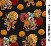seamless pattern with cute... | Shutterstock .eps vector #710888341