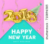 2018 3d happy new year with... | Shutterstock .eps vector #710896585