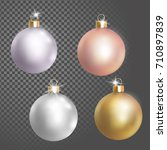 collection of christmas ball... | Shutterstock .eps vector #710897839