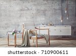 wooden armchair with concrete... | Shutterstock . vector #710900611