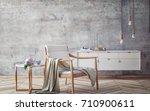 wooden armchair with concrete...   Shutterstock . vector #710900611