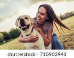 Stock photo attractive young woman with labrador outdoors woman on a green grass with dog labrador retriever 710903941