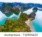 cat ba island from above. lan... | Shutterstock . vector #710904625