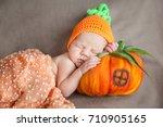 sleeping newborn baby in a...   Shutterstock . vector #710905165