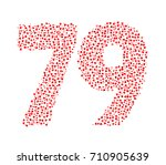 abstract number 79 made of red... | Shutterstock .eps vector #710905639