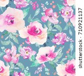 cute painted watercolor flower... | Shutterstock . vector #710921137