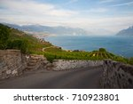vineyards of the lavaux region... | Shutterstock . vector #710923801