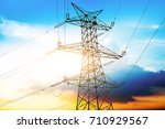 high voltage post or high... | Shutterstock . vector #710929567