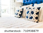 closeup of new bed comforter... | Shutterstock . vector #710938879
