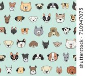Stock vector dog face funny cartoon doodle vector seamless pattern 710947075