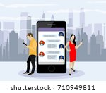 social network web site surfing ... | Shutterstock .eps vector #710949811
