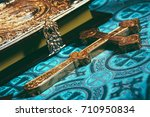 orthodox cross and the bible.... | Shutterstock . vector #710950834