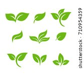 set of green leaves design... | Shutterstock .eps vector #710954359