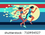 running man and woman at high... | Shutterstock .eps vector #710954527