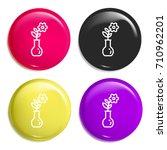 flower multi color glossy badge ...