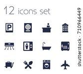 set of 12 motel icons set... | Shutterstock .eps vector #710966449