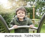 portrait of happy beautiful boy ... | Shutterstock . vector #710967535