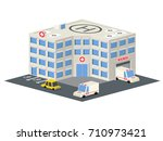 low poly hospital building.... | Shutterstock .eps vector #710973421