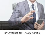 double exposure of businessman | Shutterstock . vector #710973451