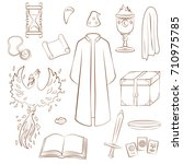 set to play a wizard. things... | Shutterstock .eps vector #710975785