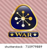 gold emblem or badge with... | Shutterstock .eps vector #710979889