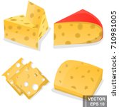 set of cheese. yellow. a useful ... | Shutterstock .eps vector #710981005