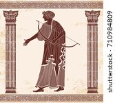 vector illustration in ancient... | Shutterstock .eps vector #710984809