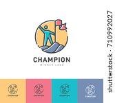 the winner of the logo. the man ... | Shutterstock .eps vector #710992027